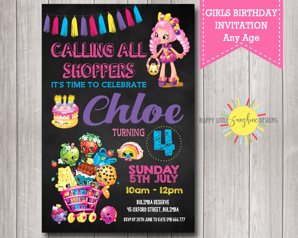 Shopkins Birthday Party Invitation Fresh Girl Birthday Printable Shopkins Birthday Invitation
