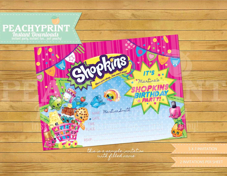 Shopkins Birthday Party Invitation Inspirational Shopkins Birthday Invitation Instant Download