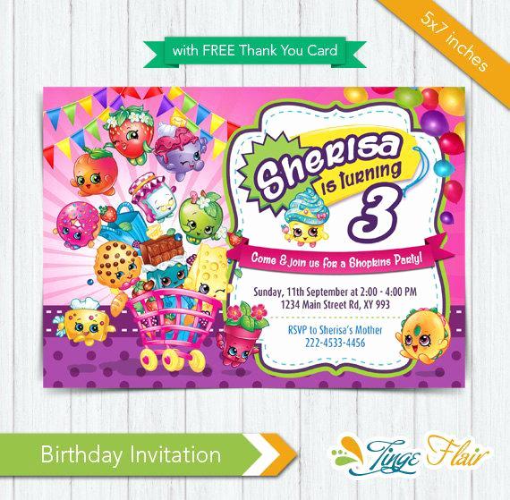 Shopkins Birthday Party Invitation Inspirational Shopkins Invitation Shopkins Birthday Invitation by Tingeflair