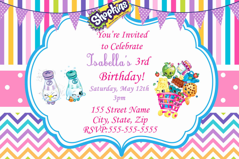 Shopkins Birthday Party Invitation Inspirational Shopkins Invitations Shopkins Birthday Party by
