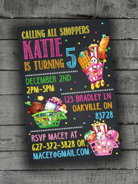 Shopkins Birthday Party Invitation Inspirational Shopkins Party Invitations Party by Partyprintableinvite