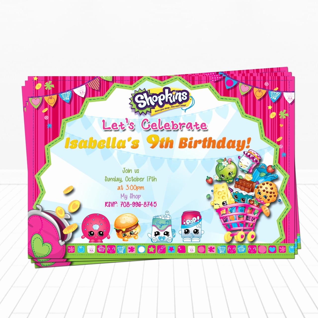 Shopkins Birthday Party Invitation Lovely Shopkins Birthday Invitation Shopkins Supplies