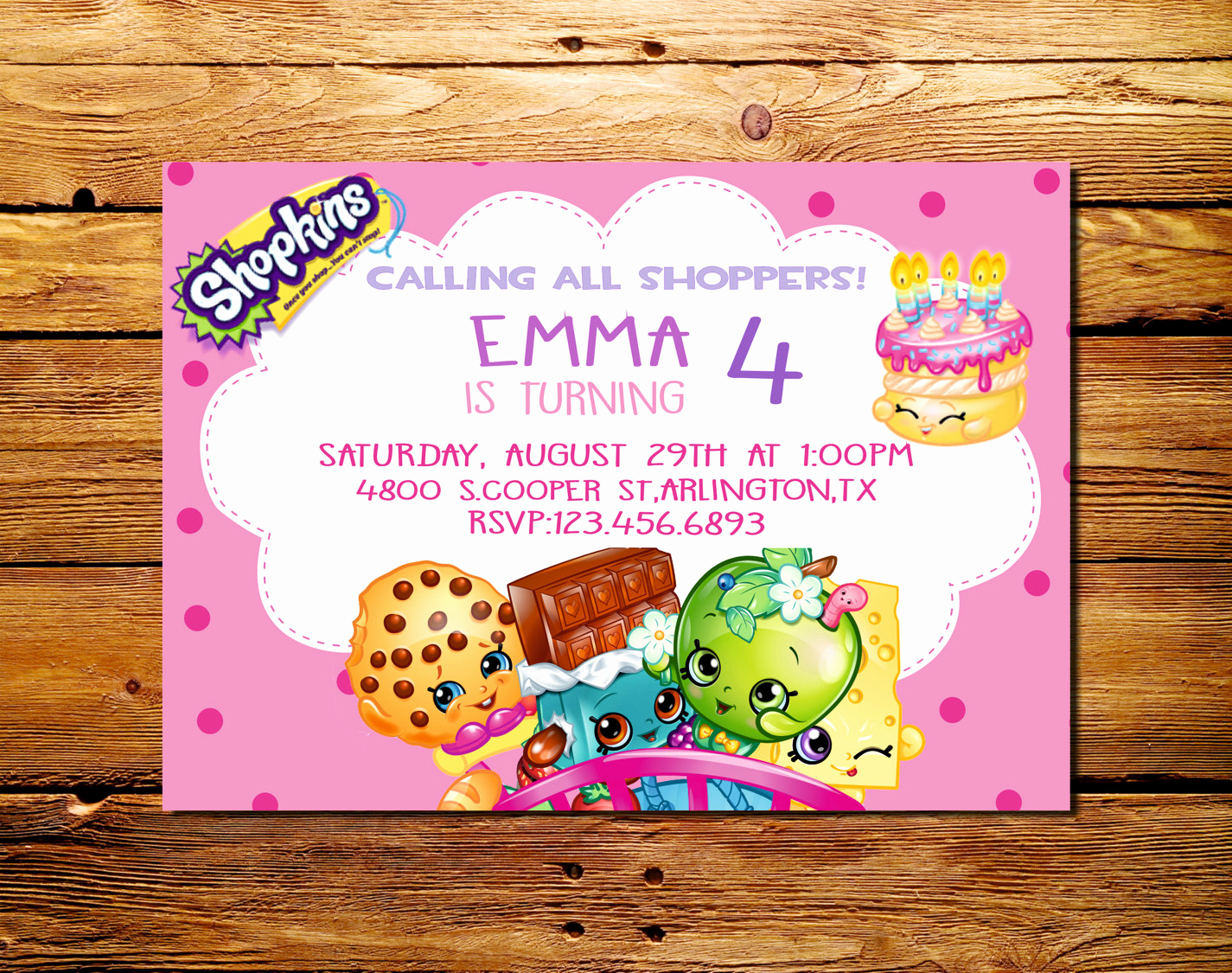 Shopkins Birthday Party Invitation Lovely Shopkins Birthday Part Invitations Shopkins Party Supplies
