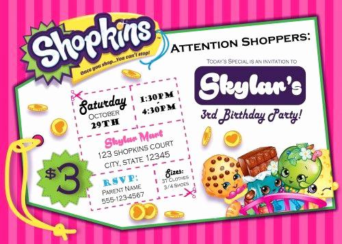 Shopkins Birthday Party Invitation Lovely Shopkins Digital Birthday Invitation