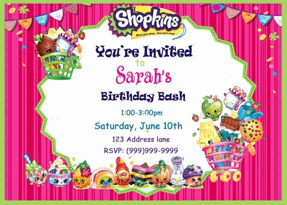 Shopkins Birthday Party Invitation Luxury Best 25 Shopkins Invitations Ideas On Pinterest