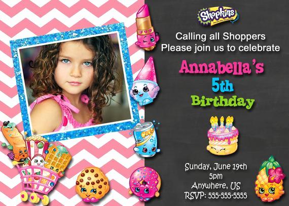 Shopkins Birthday Party Invitation Luxury Shopkins Birthday Party Invitations Chalkboard by