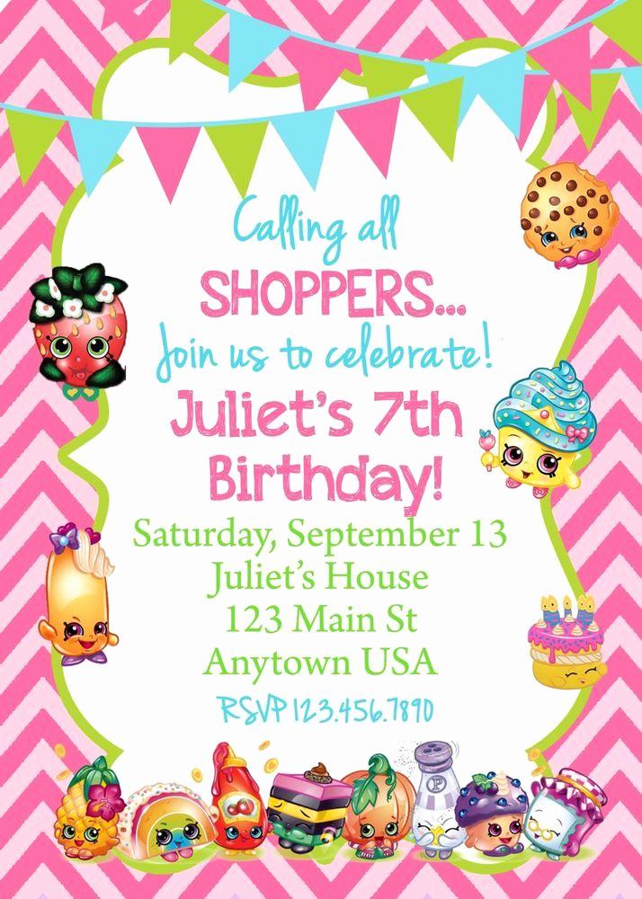 Shopkins Birthday Party Invitation Luxury Shopkins Invitation Invitations Shopkins Birthday