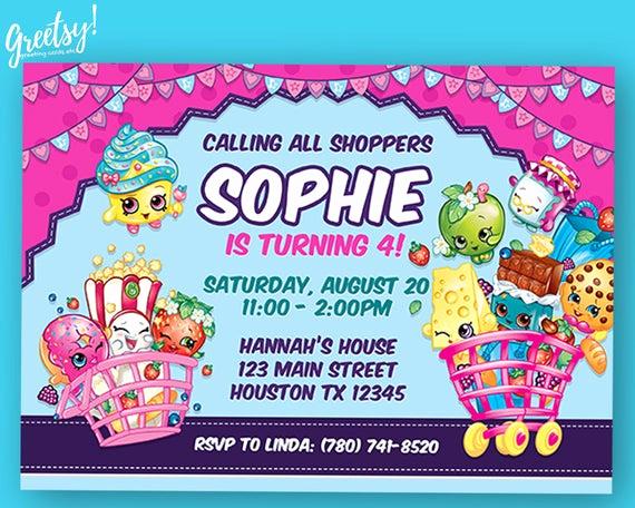 Shopkins Birthday Party Invitation Luxury Shopkins Invitation Shopkins Birthday Shopkins Party