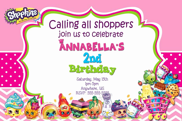 Shopkins Birthday Party Invitation New Shopkins Birthday Invitations $8 99 Available at