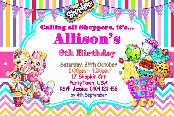 Shopkins Birthday Party Invitation New Shopkins Birthday Party Invitation Shopkins Birthday Party