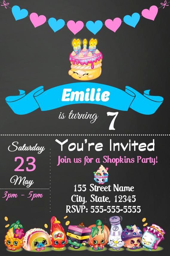 Shopkins Birthday Party Invitation New Shopkins Invitations Shopkins Birthday Party Invitation