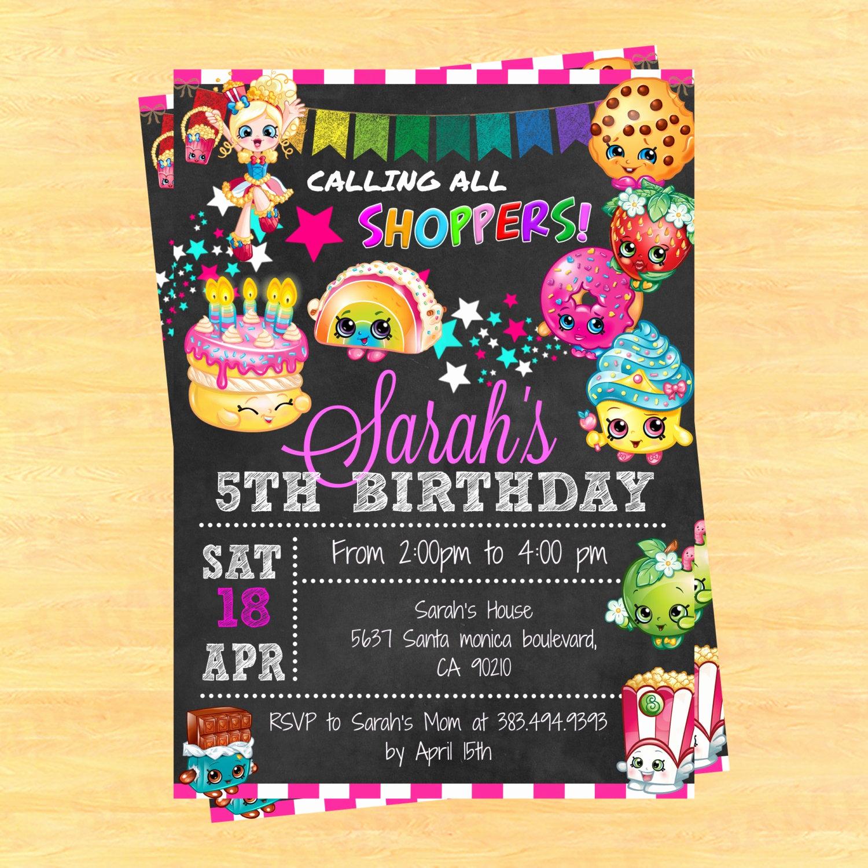 Shopkins Birthday Party Invitation Unique Printable Shopkins Birthday Party Invitation Shopkins