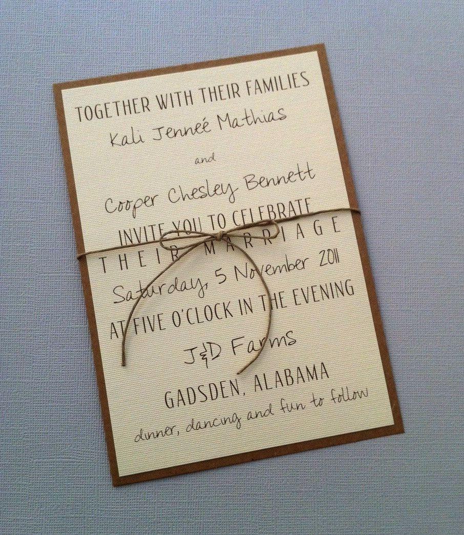 Simple Wedding Invitation Wording Beautiful Rustic Modern Wedding Invitations $2 00 Via Etsy