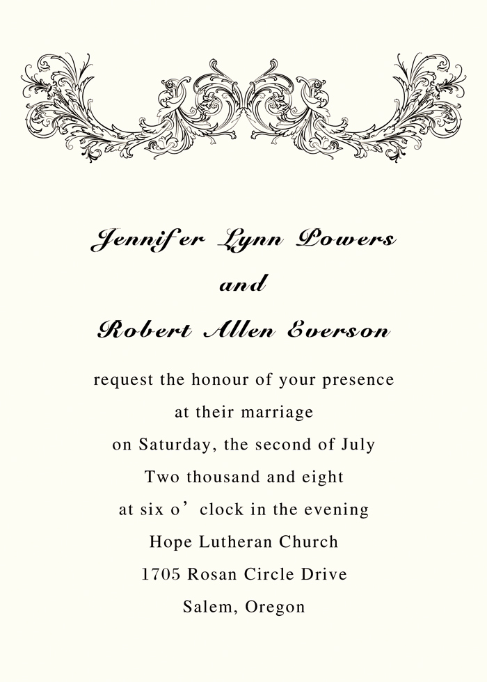 wedding invitation wording simple