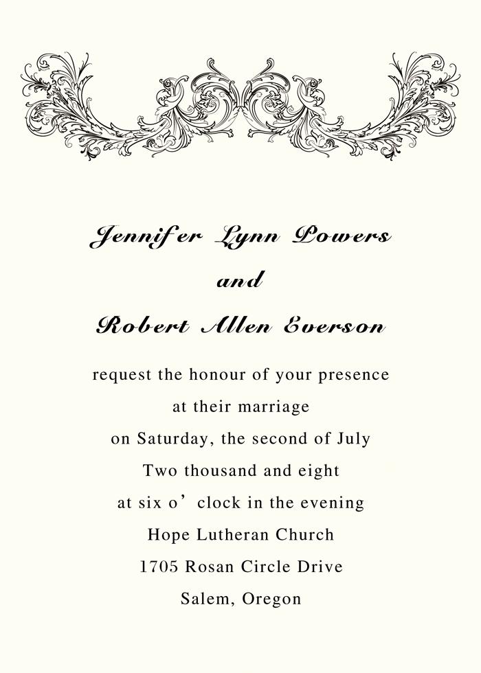 wedding invitation wording simple