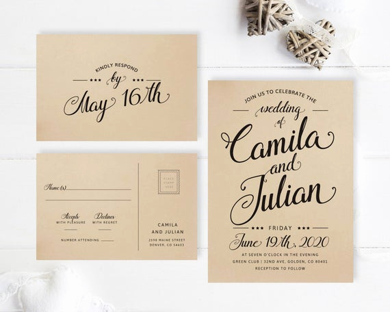 Simple Wedding Invitation Wording Best Of Simple Wedding Invitations Printed On Kraft Paper Modern