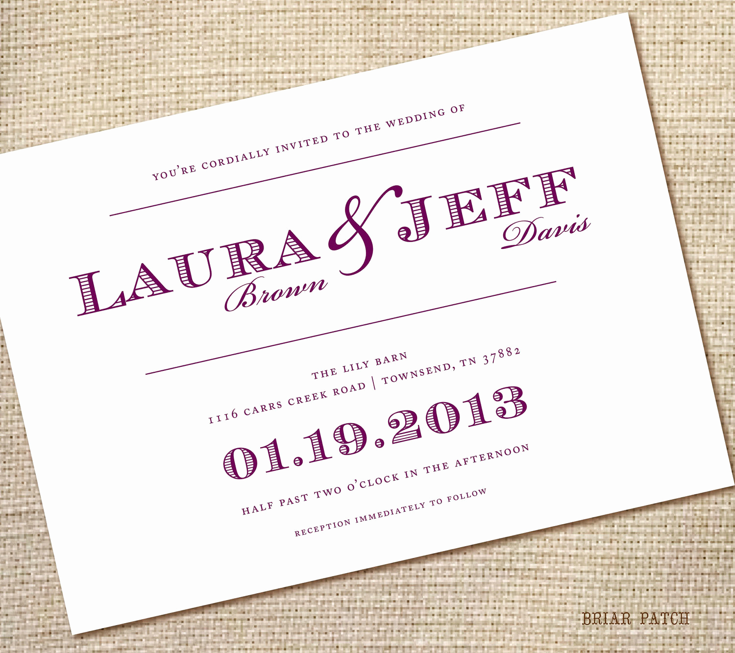 Simple Wedding Invitation Wording Elegant Simple Wedding Invitations Purple 5x7 Pdf by Briarpatchdesigns