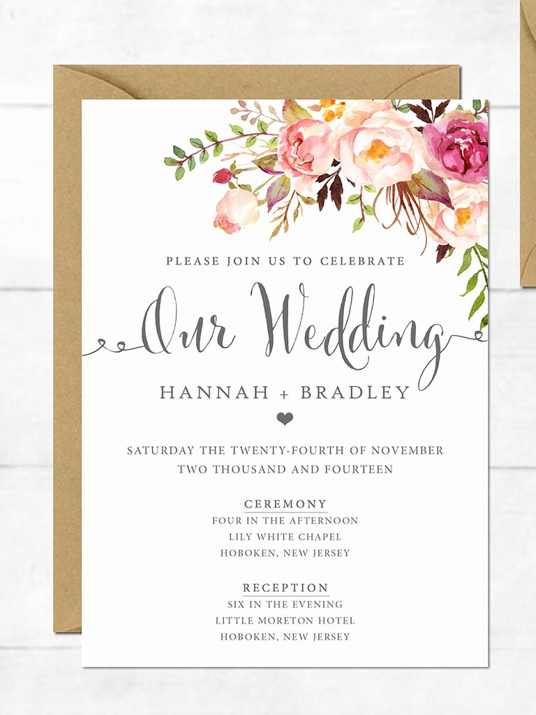 Simple Wedding Invitation Wording Fresh 16 Printable Wedding Invitation Templates You Can Diy