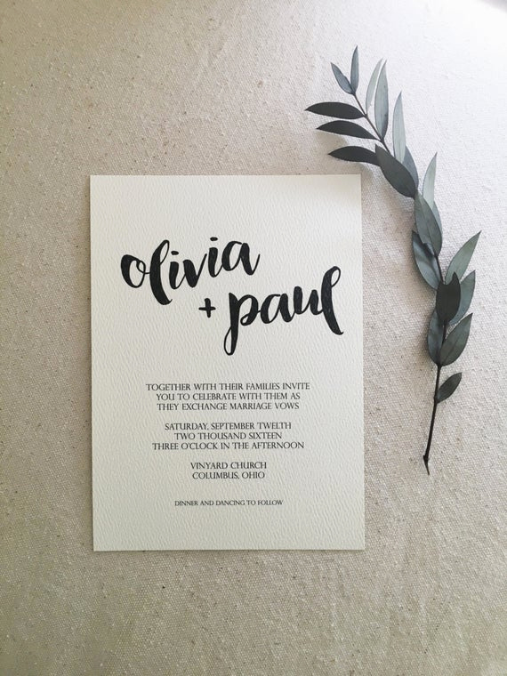 Simple Wedding Invitation Wording Inspirational Olive Tree Minimalist Wedding Invitation by