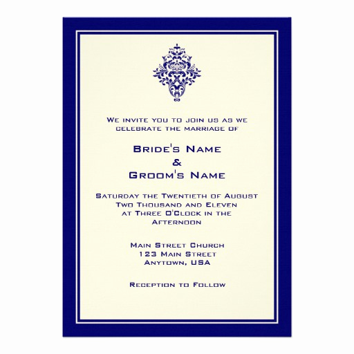 Simple Wedding Invitation Wording Lovely A7 Cream & Royal Blue Simple Wedding Invitations