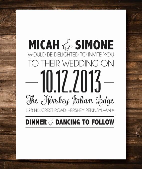 Simple Wedding Invitation Wording Unique Items Similar to Black and White Simple Wedding