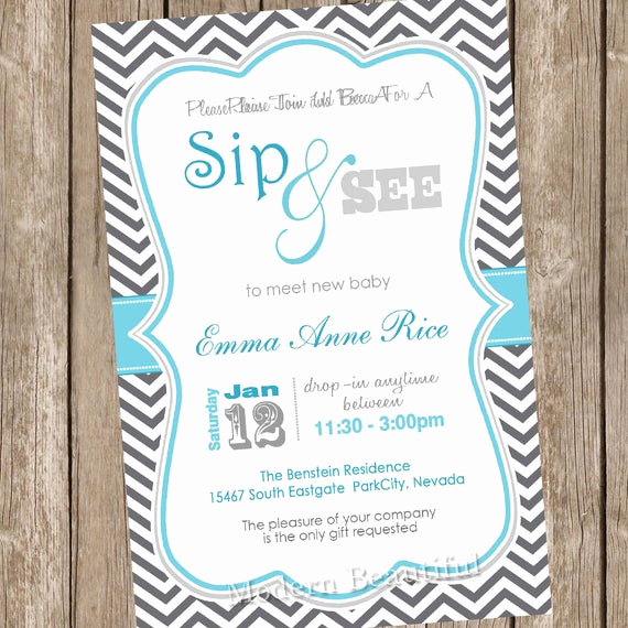 Sip and See Invitation Wording Beautiful Sip and See Baby Shower Invitation Grey and Blue Chevron