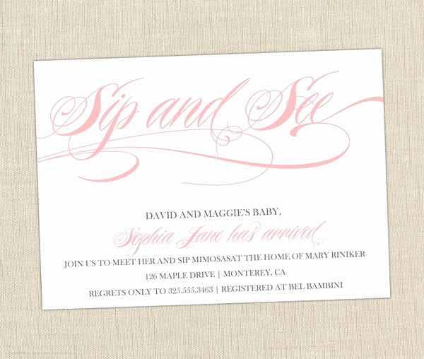 Sip and See Invitation Wording Beautiful Sip and See Invitation Brown Paper Studios