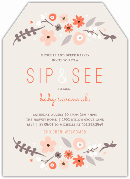 Sip and See Invitation Wording Best Of Whimsy Floral Frame Sip See Baby Shower Invitation