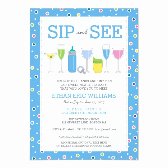 Sip and See Invitation Wording Elegant Blue Cocktail New Baby Boy Sip and See Invitation