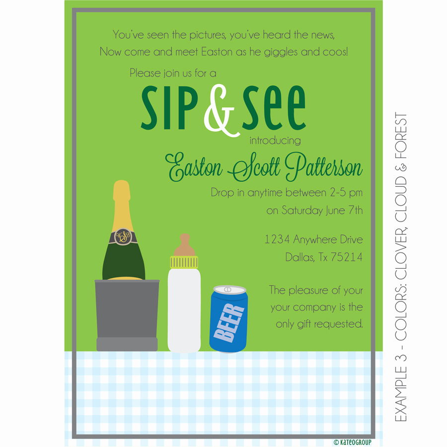 Sip and See Invitation Wording Elegant Boozy Sip and See Invitation Baby Shower