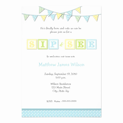 "Sip and See Invitation Wording Fresh Baby Boy Sip and See Invitation 5"" X 7"" Invitation Card"