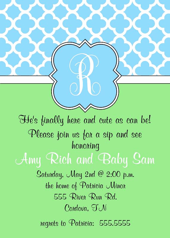 Sip and See Invitation Wording Lovely Cute Wording for A Sip and See