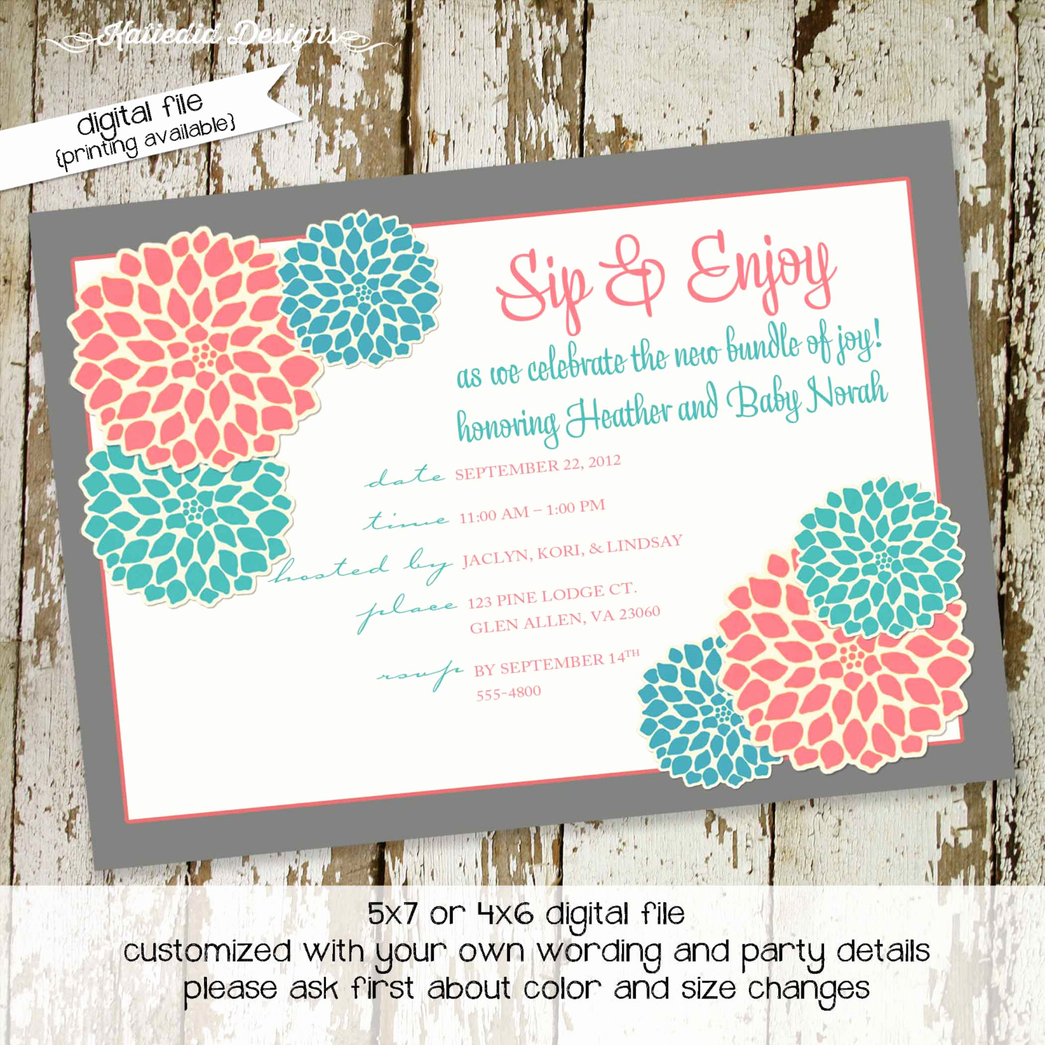 Sip and See Invitation Wording Lovely Sip and See Invitation Baby Girl Shower Gender Reveal Neutral