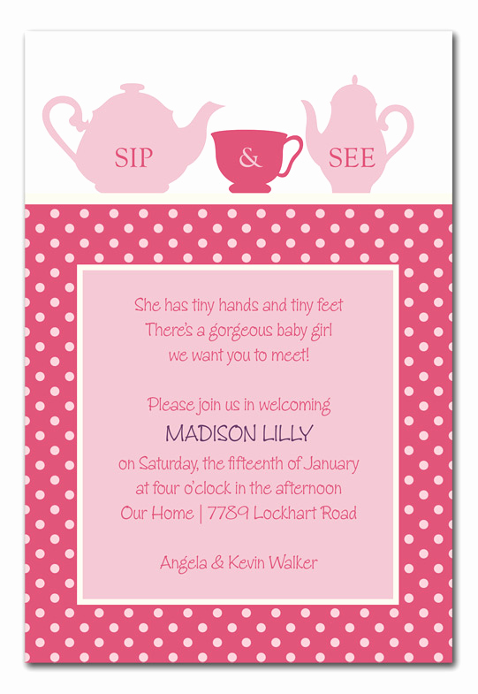 Sip and See Invitation Wording Lovely Sweet Sip and See Baby Shower Invitations by Invitation