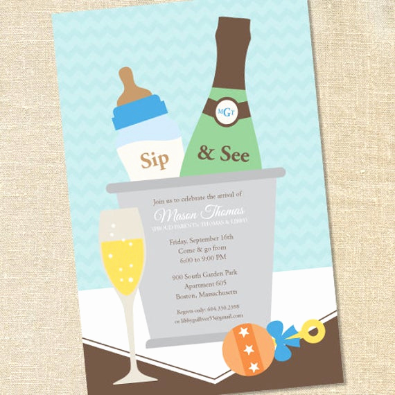 Sip and See Invitation Wording Lovely Sweet Wishes Boys Champagne Baby Shower Sip & See Invitations
