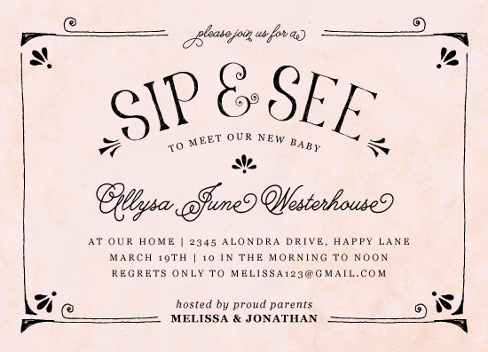 Sip and See Invitation Wording New Baby Shower Invitations Modern Vintage Sip and See at