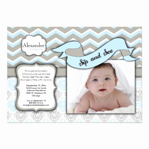 Sip and Shop Invitation Awesome Chevron Sip and See New Baby Boy Template 5x7 Paper