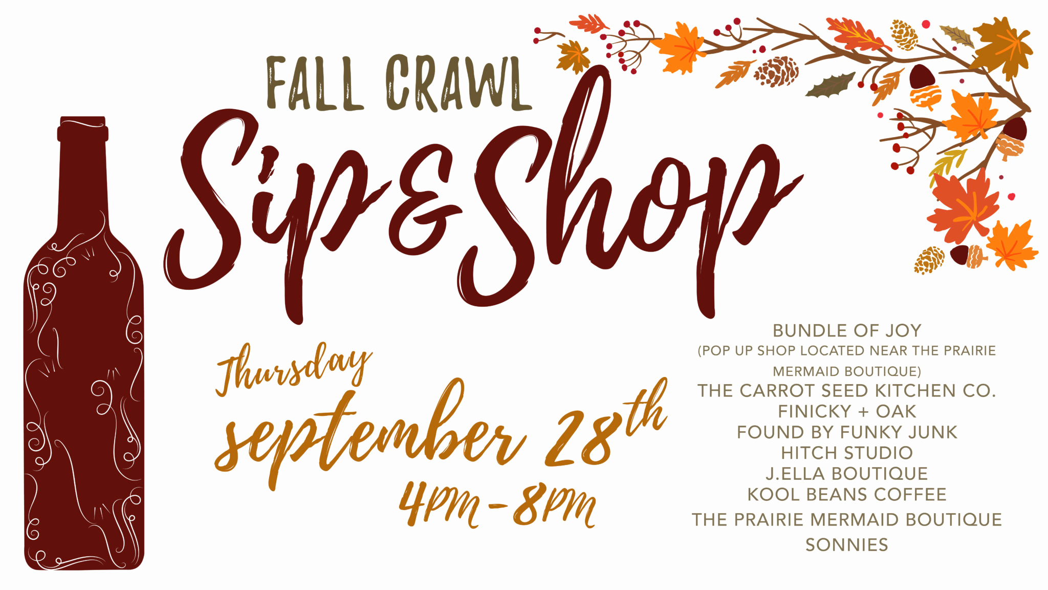 Sip and Shop Invitation Beautiful Downtown Brookings Shopping event Sip & Shop Fall Crawl