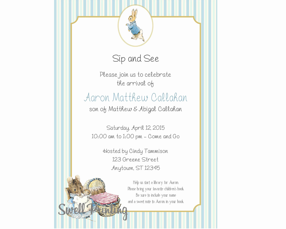 Sip and Shop Invitation Lovely Baby Shower Invitation Peter Rabbit Sip and See Invitation