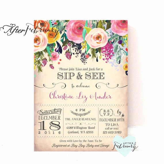 Sip and Shop Invitation Lovely Sip and See Invitations Girl Flower Meet and Great Invite Baby