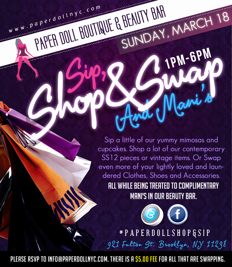 Sip and Shop Invitation New Sip Shop & Swap & Mani S event at Paper Doll Boutique