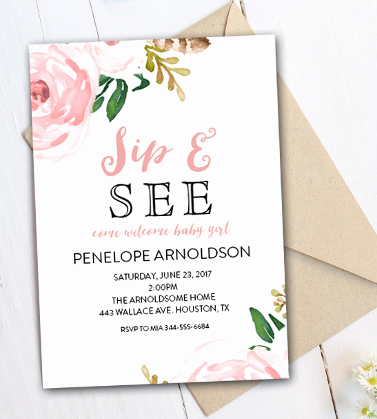Sip and Shop Invitation Unique Editable Sip and See Invitation Watercolor Flowers Pdf