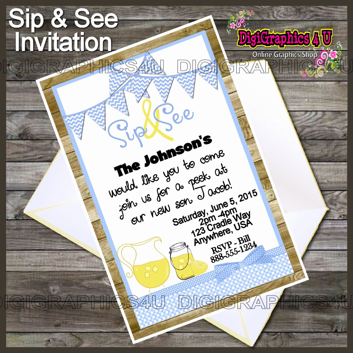 Sip and Shop Invitation Unique Printable Personalized Sip and See Baby Boy by Digigraphics4u