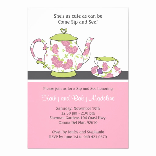 """Sip and Shop Invitation Unique Sip and See Baby Shower Invitation 5"""" X 7"""" Invitation Card"""
