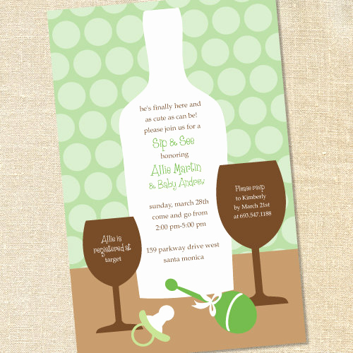Sip and Shop Invitation Unique Sweet Wishes Sip and See Baby Shower Invitations Wine