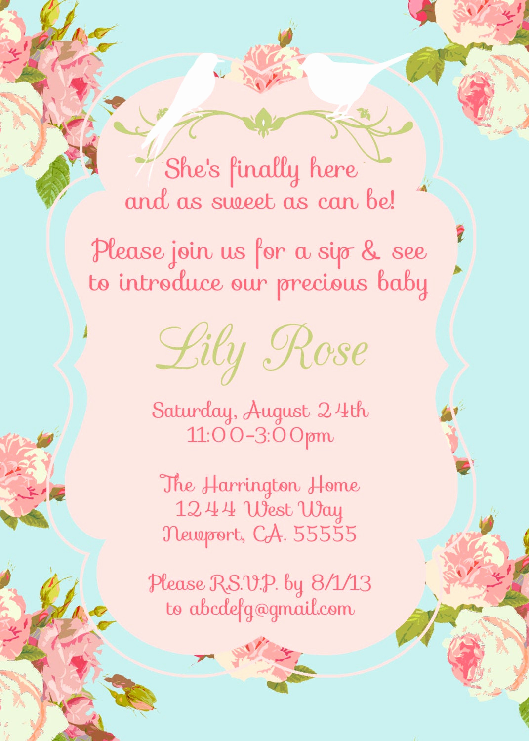 Sip N See Invitation Wording Awesome Vintage Baby Shower Invitation Sip N See Invitation Shower