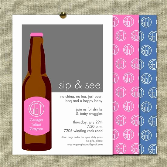 "Sip N See Invitation Wording Beautiful Modern Sip and See Invitation for Dad S ""chug N Hug"