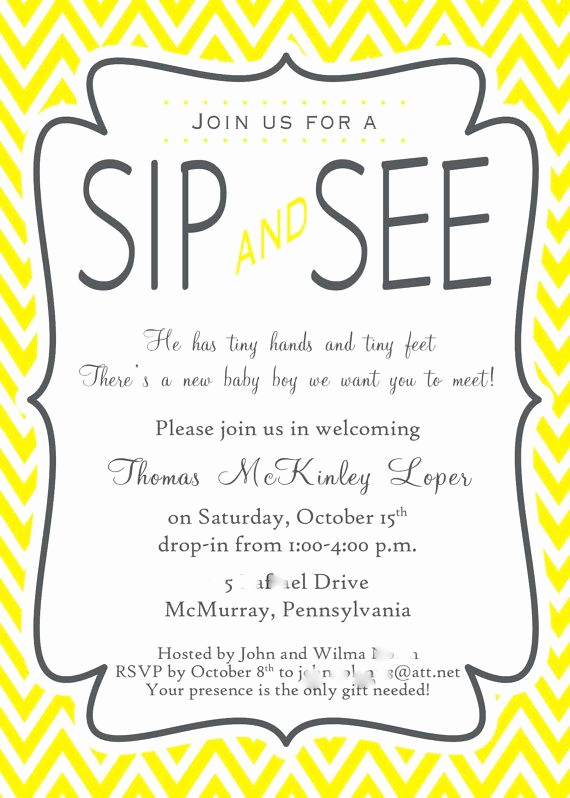 Sip N See Invitation Wording Beautiful Sip and See Invitation Wording