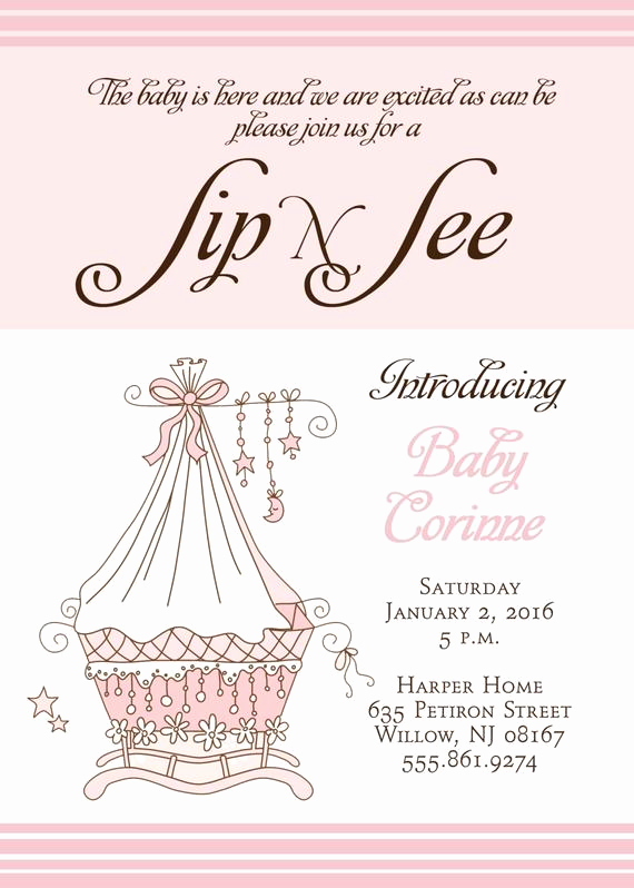 Sip N See Invitation Wording Best Of Sip and See Invitation Printable Digital File Baby Arrival