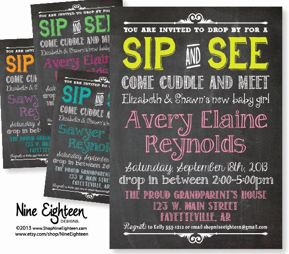 Sip N See Invitation Wording Elegant Sip & See Baby Shower Invitation Chalkboard by Nineeighteen